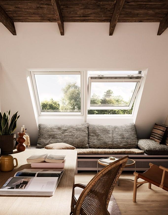 Detalle interior dos ventanas VELUX