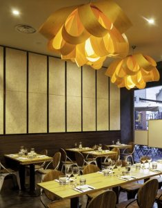 Restaurante, detalle de celenit, aislante termoacústico natural de Maydisa